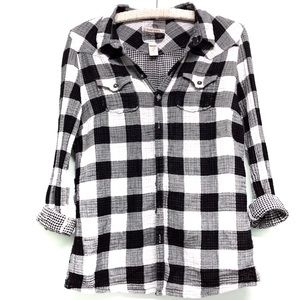 Diesel Plaid Button Down Black/ White Medium